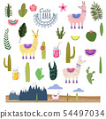 Set Lama Alpaca cacti drinks and decorative. Collection of elements for decoration, vector 54497034