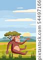 Cute cartoon monkey on background landscape savannah Africa illustration, vector, isolated 54497166
