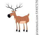 Cute Deer, forest animal, suitable for books, websites, applications, trend style graphics, vector 54497376