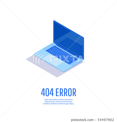 Page with 404 Error Page on laptop display. 54497902