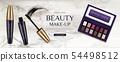 Cosmetic eye shadow palette, mascara tubes brush 54498512