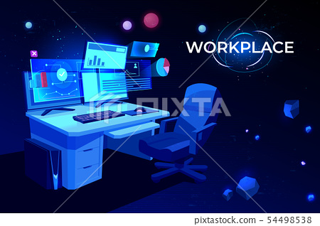 Workplace with computer table Pc monitors armchair 54498538