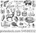 Symbols of Finland in vintage style. Doodle sketch with traditional signs. Scandinavian culture 54500332