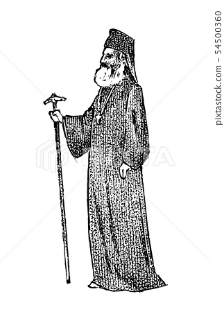 Priest in clerical clothing. Archbishop of Athens and All Greece. Greek Man Bishop in vintage style 54500360