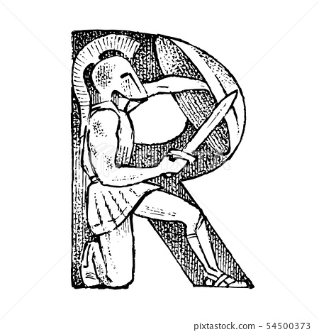 Ancient antique capital letter R with an ornament. Greek culture. Double exposure. Hand drawn 54500373