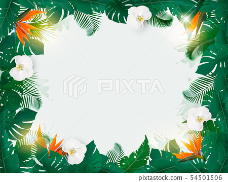 oliday Background With Exotic Palm Leaves And 54501506