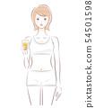 유리를 가진 여자 상반신 (야채 주스 오렌지) 54501598