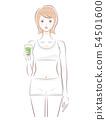 유리를 가진 여자 상반신 (야채 주스 그린) 54501600