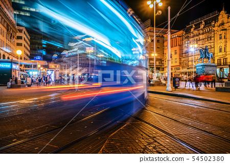 Long exposure shot of Zagreb city, Croatia. 54502380