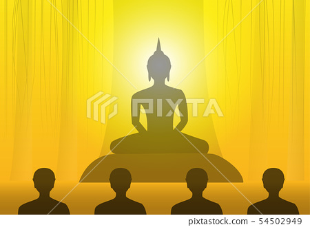 Vesak Day with buddha at under tree in silhouette 54502949