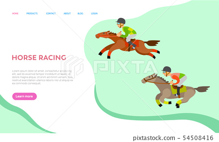 Horse Racing Website with Text, Equine Sports 54508416