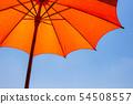 Structure orange color beach umbrella made of Wood 54508557