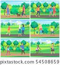 People Leisure in Park between Trees, Park Vector 54508659