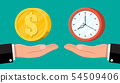 Clock and money on hand scales 54509406