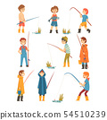 Cute Boys with Fishing Rods Set, Little Fishermen Cartoon Characters Vector Illustration 54510239