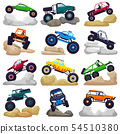 Monster truck vector cartoon vehicle or car and extreme transport crawling in rocks illustration set 54510380