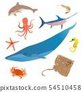 Marine fish icon set. Ocean underwater animals character. Vector 54510458