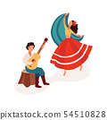 Dancing and playing guitar gypsy couple flat cartoon vector illustration isolated. 54510828