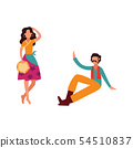Gypsy woman with tambourine dance, beautiful female cartoon character in traditional clothing 54510837