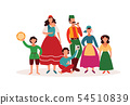 Gypsy people - isolated cartoon character family in traditional clothes and Romany culture artefacts 54510839