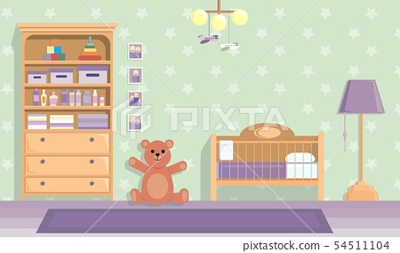 baby room in lilac . Vector image in flat design style. Paper space with place for text 54511104