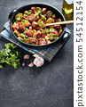 Veggies Ratatouille with chicken meat, top view 54512154