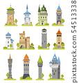 Cartoon castle vector fairytale medieval tower of fantasy palace building in kingdom fairyland 54513338