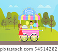 Candy Cotton Seller and Client, Street Food in Park 54514282