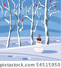 Winter landscape with a snowman with birds sitting on trees in flat cartoon design in vector 54515950