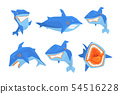 Flat vector set of big blue shark. Marine fish with sharp teeth and large fin on back. Elements for 54516228