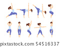Young woman in different asanas poses set, girl doing yoga exercises vector Illustrations on a white 54516337