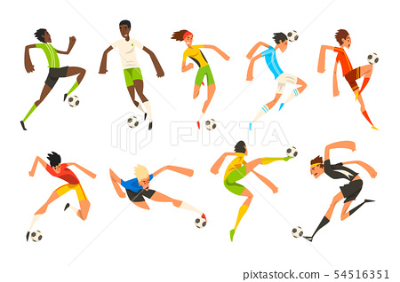 Soccer player set, football athletes playing, kicking, training and practicing vector Illustrations 54516351