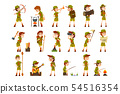 Scouting boys set, boy scouts with hiking equipment, summer camp activities vector Illustrations on 54516354