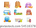 Flat vector set of school lunch boxes and bags with food and drinks. Tasty meal for kids 54516378