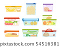 Flat vector set of plastic containers with food vegetables, fruits, sweets, macaroni. Dessert for 54516381