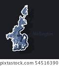 Detailed sticker map of Wellington, New Zealand 54516390