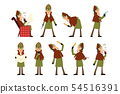 Flat vector icons of detective Sherlock in different actions thinking, reading newspaper, smoking 54516391