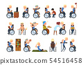 Disabled man in wheelchair in different situations set, rehabilitation and active lifestyle of 54516458