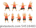 Senior woman doing morning exercises, active and healthy lifestyle of retired people vector 54516483