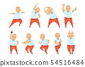 Senior man doing morning exercises, active and healthy lifestyle of retired people vector 54516484
