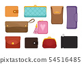 Flat vectoe set of stylish wallets. Pocket-sized holder for money and plastic cards. Small women bag 54516485