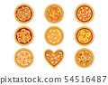 Flat vector set of tasty pizza with different ingredients. Delicious fast food. Traditional Italian 54516487
