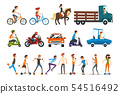 People on the street set, various vehicles cartoon vector Illustration on a white background 54516492