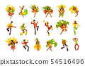 People dancing and playing music, Brazil carnival, dancing men and women in bright costumes vector 54516496