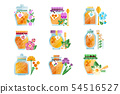 Glass jars of herbal honey set, natural golden organic honey and wild flowers vector Illustrations 54516527