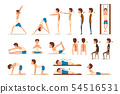Teen boy doing exercises set, correct and wrong spine posture, rehabilitation exercise for back pain 54516531
