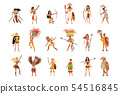 Aztec warriors set, men and women in traditional clothes and headgear with weapon vector 54516845