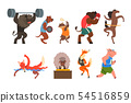 Animals doing exercise in the gym, fitness and healthy lifest.yle vector Illustrations on a white 54516859