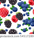 Blackberry blueberry cherry and raspberry seamless pattern. 3d realistic vector berries. 54517289