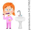 Cute little girl brushing teeth 54517662